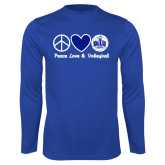 Performance Royal Longsleeve Shirt-Peace Love and Volleyball Design