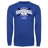 Royal Long Sleeve T Shirt-Softball Crossed Bats Design
