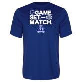Performance Royal Tee-Game. Set. Match. Tennis Design