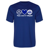 Performance Royal Tee-Peace Love and Volleyball Design