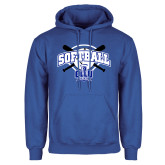 Royal Fleece Hoodie-Softball Crossed Bats Design