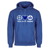 Royal Fleece Hoodie-Peace Love and Volleyball Design