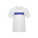 Youth White T Shirt-Saints