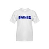 Youth White T Shirt-Saints