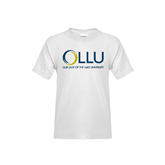 Youth White T Shirt-OLLU Our Lady of the Lake University Stacked