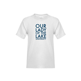 Youth White T Shirt-Our Lady of the Lake Stacked