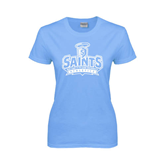 Ladies Sky Blue T Shirt-Our Lady of the Lake University Athletics - Offical Logo