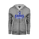 ENZA Ladies Grey Fleece Full Zip Hoodie-Our Lady of the Lake University Athletics - Offical Logo Distressed