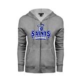 ENZA Ladies Grey Fleece Full Zip Hoodie-Our Lady of the Lake University Athletics - Offical Logo Distressed