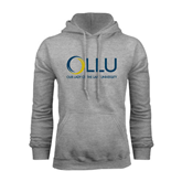 Grey Fleece Hoodie-OLLU Our Lady of the Lake University Stacked