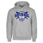 Grey Fleece Hoodie-Softball Crossed Bats Design