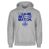 Grey Fleece Hoodie-Game. Set. Match. Tennis Design