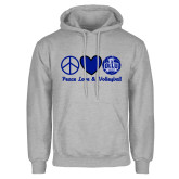 Grey Fleece Hoodie-Peace Love and Volleyball Design