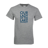 Grey T Shirt-Our Lady of the Lake Stacked