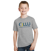 Youth Grey T-Shirt-OLLU Our Lady of the Lake University Stacked