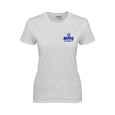 Ladies White T Shirt-Our Lady of the Lake University Athletics - Offical Logo