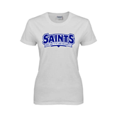 Ladies White T Shirt-Saints - Our lady of the Lake University