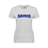 Ladies White T Shirt-Saints