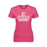 Ladies Fuchsia T Shirt-Our Lady of the Lake University Athletics - Offical Logo