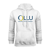 White Fleece Hoodie-OLLU Our Lady of the Lake University Stacked
