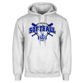 White Fleece Hoodie-Softball Crossed Bats Design