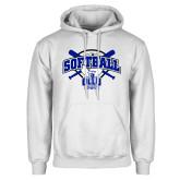 White Fleece Hoodie-Softball Crossed Bats Design