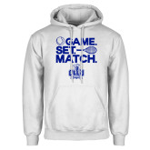 White Fleece Hoodie-Game. Set. Match. Tennis Design