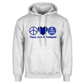 White Fleece Hoodie-Peace Love and Volleyball Design