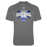 Under Armour Carbon Heather Tech Tee-Softball Crossed Bats Design
