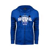 ENZA Ladies Royal Fleece Full Zip Hoodie-Softball Crossed Bats Design