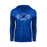 ENZA Ladies Royal Fleece Full Zip Hoodie-Just Kick It Soccer Design