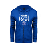 ENZA Ladies Royal Fleece Full Zip Hoodie-Game. Set. Match. Tennis Design
