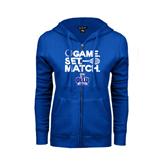 ENZA Ladies Royal Fleece Full Zip Hoodie-Game. Set. Match. Tennis Design