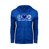 ENZA Ladies Royal Fleece Full Zip Hoodie-Peace Love and Volleyball Design