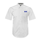 White Twill Button Down Short Sleeve-OLLU