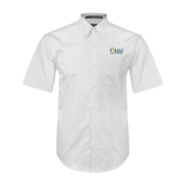 White Twill Button Down Short Sleeve-OLLU Our Lady of the Lake University Stacked