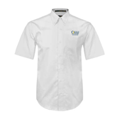 White Twill Button Down Short Sleeve-The Woodlands