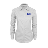 Ladies White Twill Button Down Long Sleeve-OLLU
