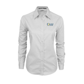 Ladies White Twill Button Down Long Sleeve-OLLU Our Lady of the Lake University Stacked