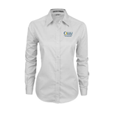 Ladies White Twill Button Down Long Sleeve-The Woodlands