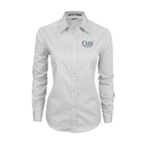Ladies White Twill Button Down Long Sleeve-Rio Grande Valley