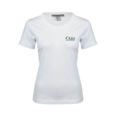 Ladies White Stretch Scoop Neck-OLLU Our Lady of the Lake University Stacked