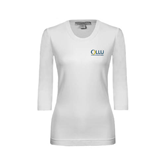 Ladies White 3/4 Sleeve Scoop Neck-OLLU Our Lady of the Lake University Stacked