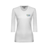 Ladies White 3/4 Sleeve Scoop Neck-Rio Grande Valley