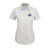 Ladies White Twill Button Up Short Sleeve-Our Lady of the Lake University Athletics - Offical Logo