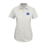 Ladies White Twill Button Up Short Sleeve-OLLU Saints