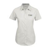 Ladies White Twill Button Up Short Sleeve-OLLU Our Lady of the Lake University Stacked