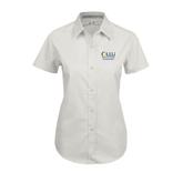 Ladies White Twill Button Up Short Sleeve-The Woodlands
