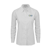 Ladies White Oxford Shirt-OLLU Our Lady of the Lake University Stacked