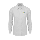 Ladies White Oxford Shirt-The Woodlands